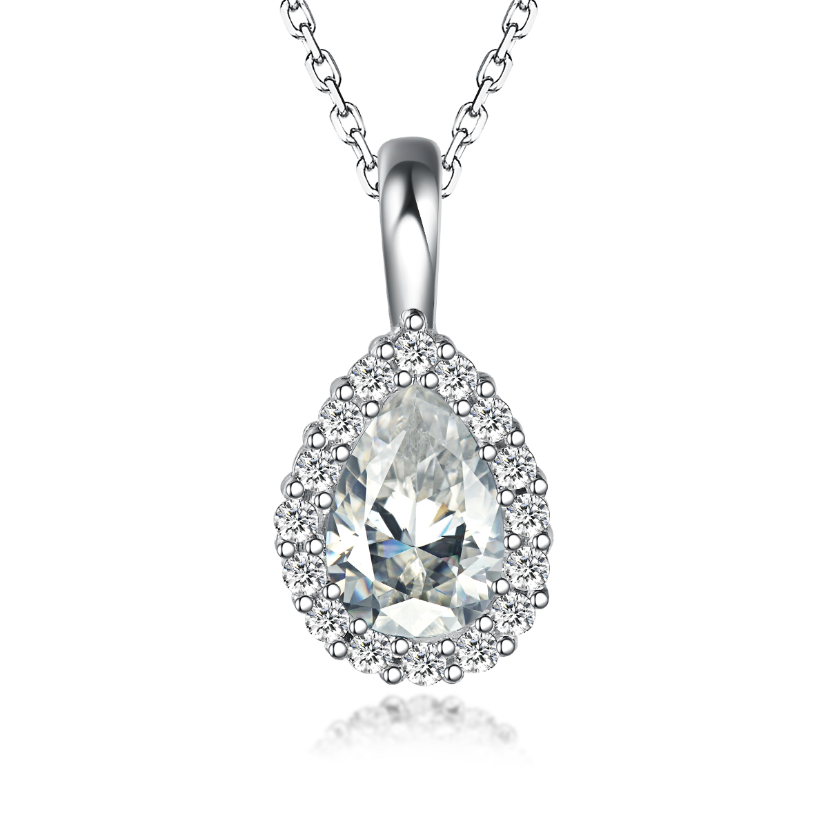 Wholesales Diamond Sterling Silver Heart Pendant Necklace