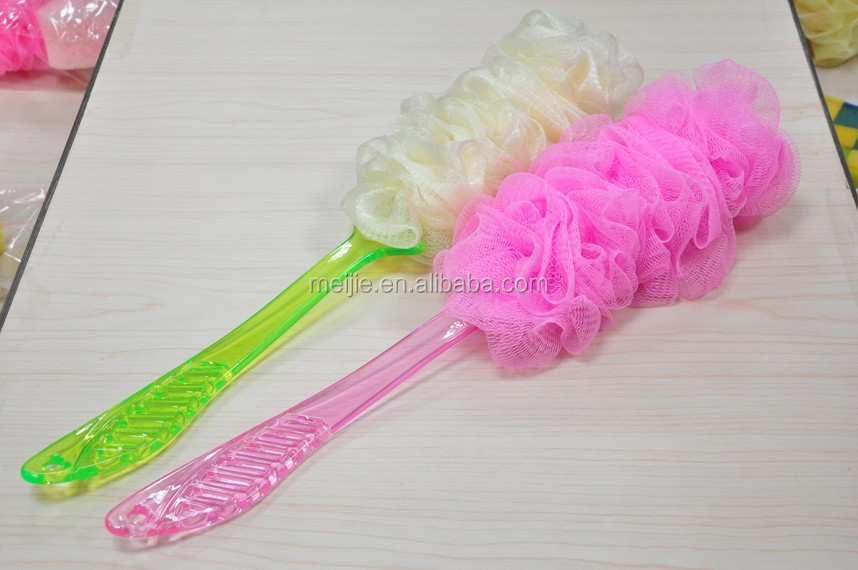 Netting Sponge Scrubber Shower Brush with handle for Body Washing