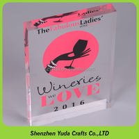 free shipping factoray price silk screen printing clear acrylic logo block from China