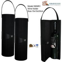 Leather low price single wine bottle tube,wine tube,leather wine carrier