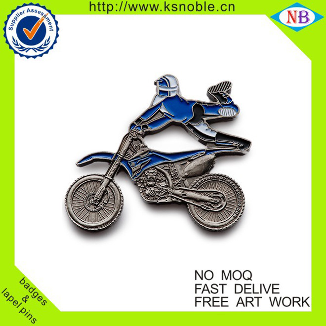 Top quality motorcycle shaped funny metal lapel pins