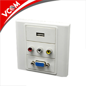 VCOM Popular Smart Home 3 Port Modular Face Plate RJ45 USB HDMI Wall Mount Plates