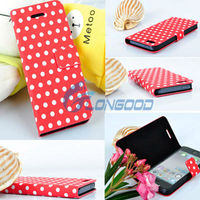 PU Leather Book Case Cover For New i Phone 5 Wallet Flip Polka Dot Case Cover