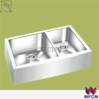 ss 304 material double bowl kitchen hand-made apron stainless steel sink with drainboard