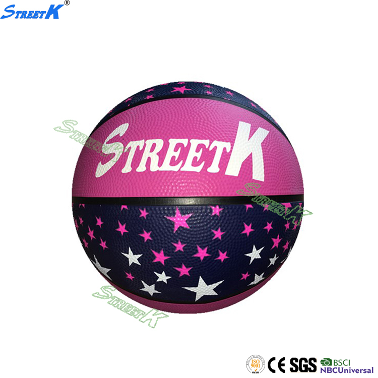 China custom rubber made basketball size 7 with customized logo