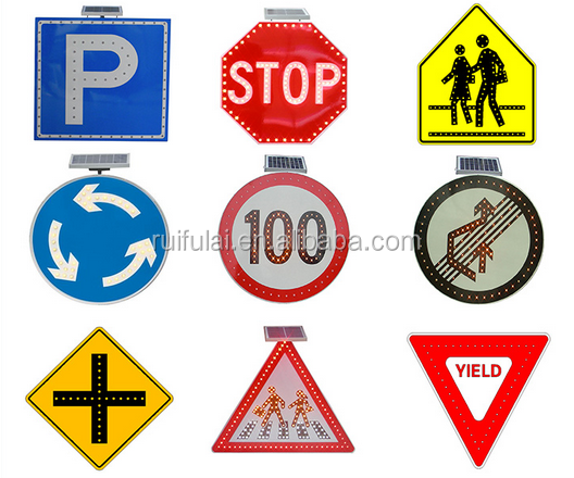 Road safety solar panel traffic warning sign
