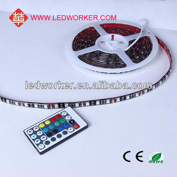 IP64 5M PCB Black RGB SMD 5050 Flexible 150 LED Strip Waterproof & Best price led light strip remote controller