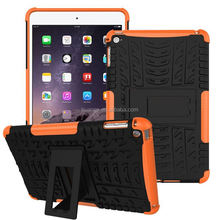 2016 New design durable 2 in 1rugged armor hybrid hard stand phone shockproof top quality case for ipad mini 4 made in china