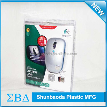 Customized plastic recycling blister clamshell packaging for mouse
