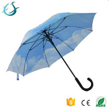 Hot selling promotional blue sky print auto open straight umbrella