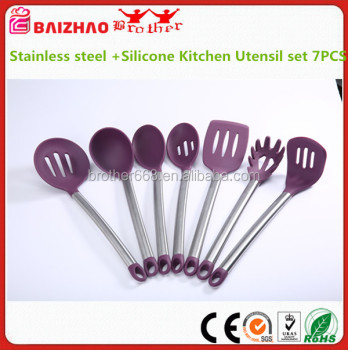 Superior quality FDA Premium Stainless steel +Silicone Kitchen Utensil set 7PCS