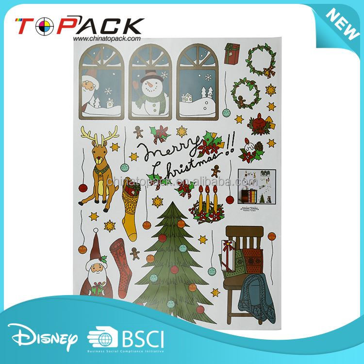 Hot sale OEM design beautiful cartoon christmas wall stickers