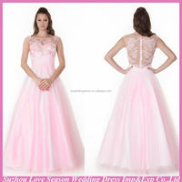 HE8014 New design with great price pink cap sleeve transparent organza lace appliqued back long part order to make evening gowns