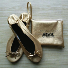 Gold Leather Foldable Ballet Folding Flat Shoes With The Crrying Case