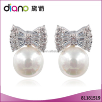 2016 Latest Fashion jewelry Women Crystal Rhinestone Peal Silver Stud Earring For Girl