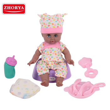 zhoyra wholesale plastic 16 inch african american black lovely baby boy dolls with baby doll accessories toy playset