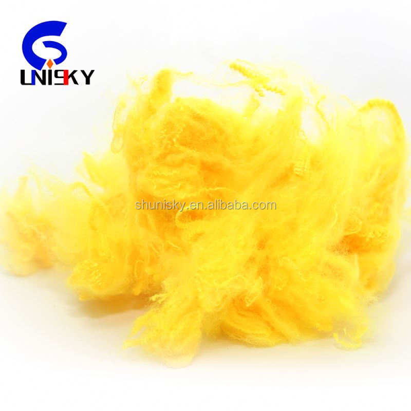 3D recycled polyester staple fiber for yarn
