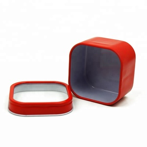 Wholesale metal square window mint/candy/ gift Tin Box with plastic lid