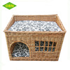 Woven wicker rattan pet house with mat