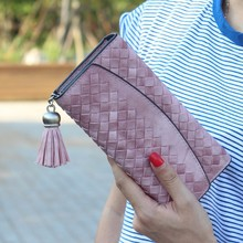 High Quality Woven Leather Fancy Ladies Clutch Purse