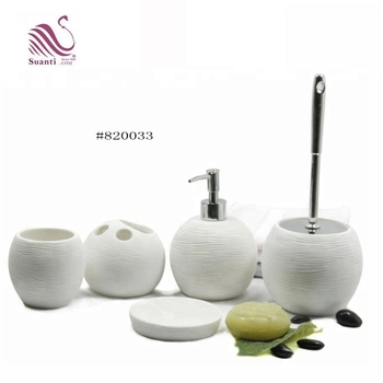 Round Sphere Shape with Lines Natural Sand White Resin Bathroom Accessories Set for Home and Hotel