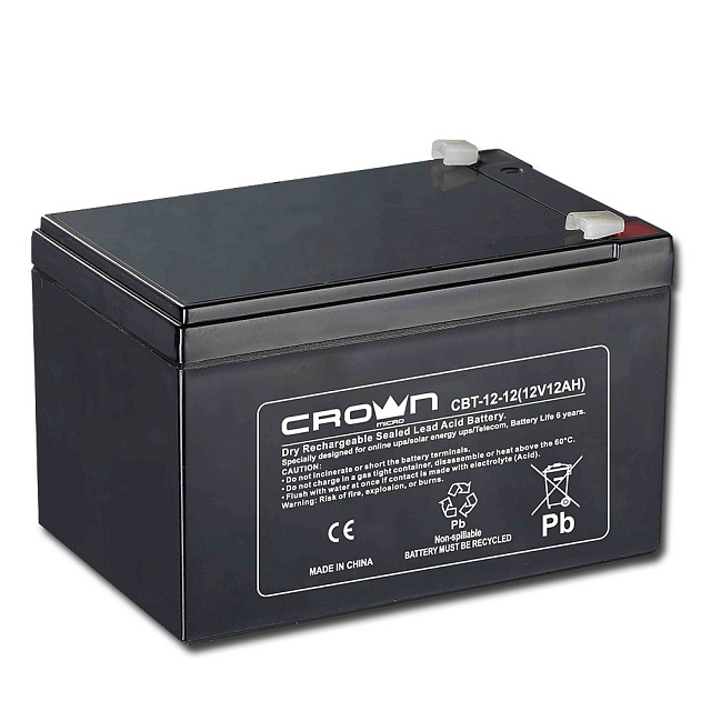 Crown Micro 12v 12ah Rechargable sealed lead acid battery high quality