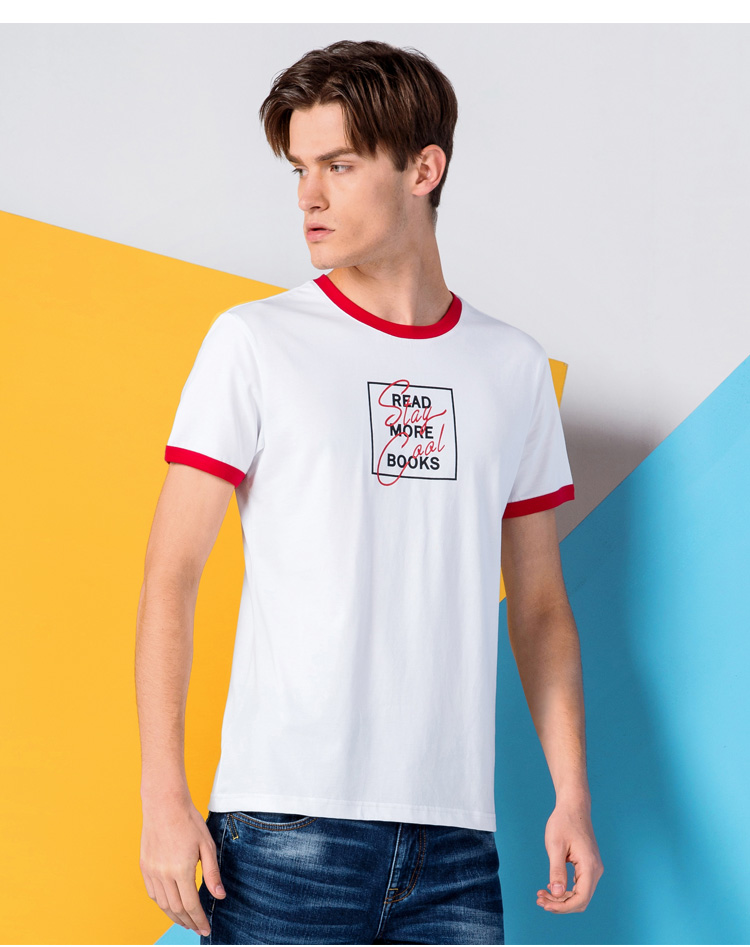 Soft T Shirt Slub Cotton Personalized Color Collar Sport T-shirt