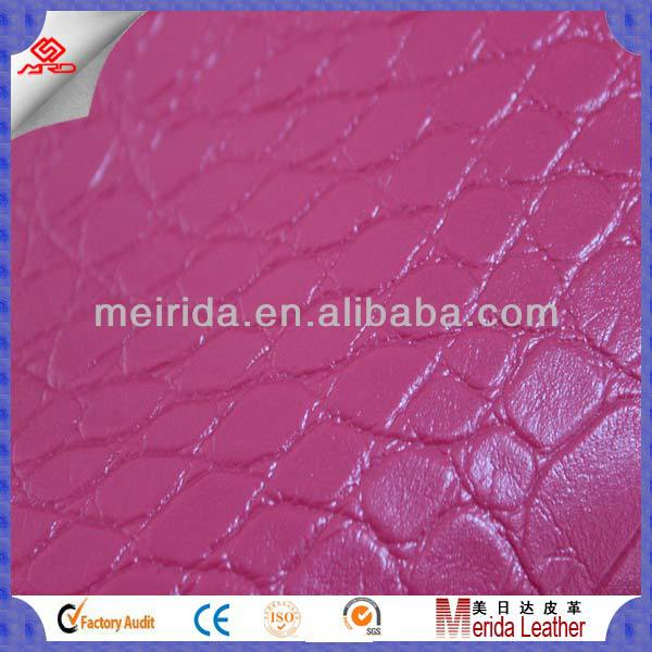 Fashional crocodile skin embossed pattern pvc synthetic leather fabric