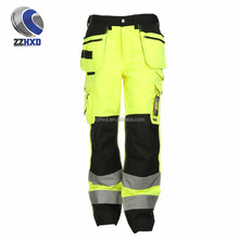 OEM multi-pocket high-vis EN20471 fire resistant color fluorescence pants work trousers