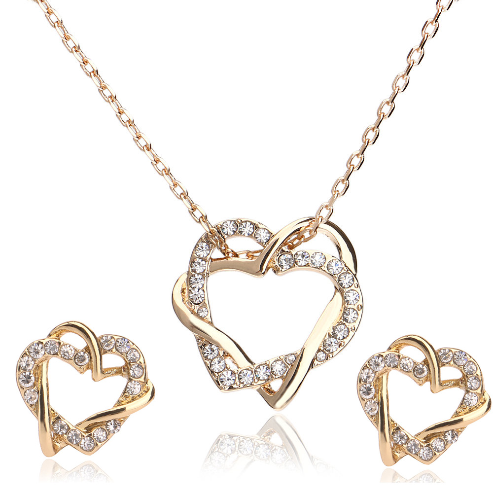New arrival jewelry 18k gold plated rhinestone heart wedding necklace set with Austrian crystal