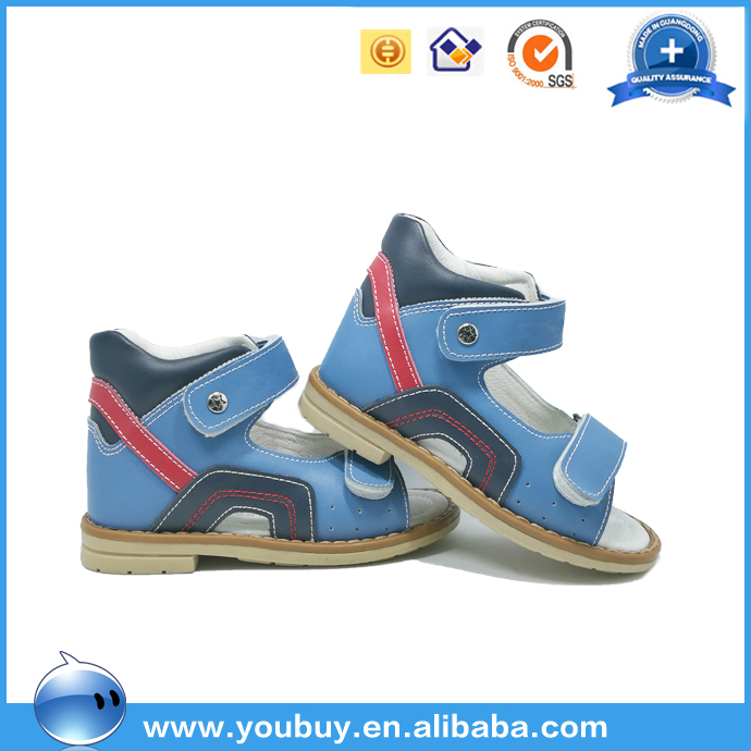 Blue Colorful Design Boys Orthotic Sandals Orthopedic Leather Kids Shoes
