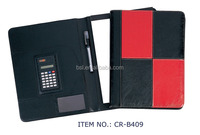 office use a3 leather company folder for interview/smooth surface leather business portfolio with notepad and pen holder