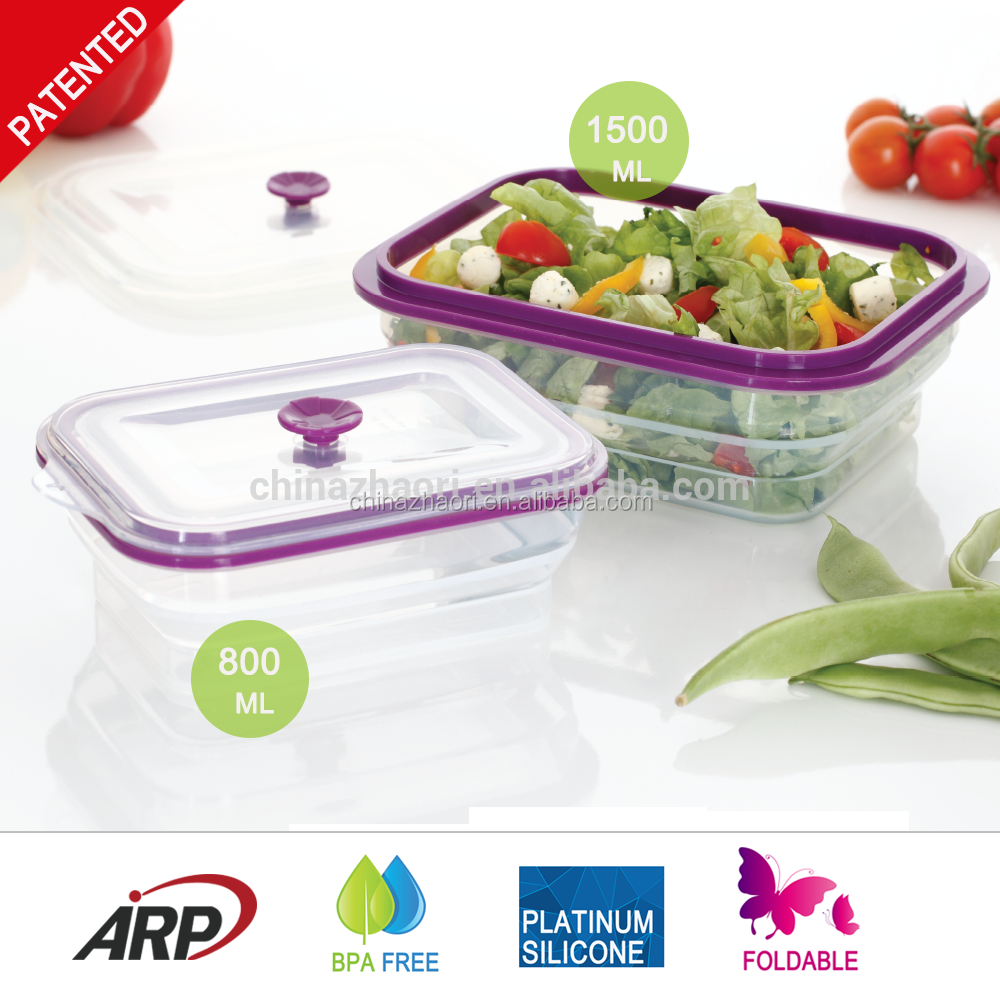 Airtight and leakage proof Foldable Silicone Food Container