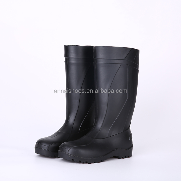2016 Wholesale cheap black safety PVC rain boots, steel toe insert safety boots