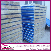 Shanghai Manufacture Cheap Price Rock wool/Glass wool Sandwich Panel for Wall/Roof
