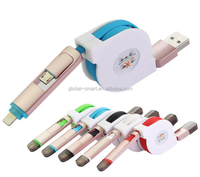 2 in 1 Retractable usb data cable For iPhone 5 5s 6s For Samsung & Android USB Connector USB Charger