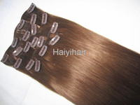 2015 220 grams full head clip in hair extensions/grey color clip in hair extension/ombre hair extension clip in