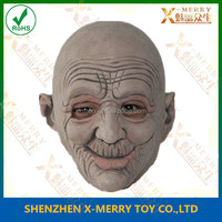X-MERRY Old Huaman Man Head Of Halloween Costume Latex Full Head Mask! Realistic Mask!