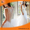 Latest Design Dress Plunge V Neckline Lace Appliqued Tulle Backless Bridal Wedding Gown