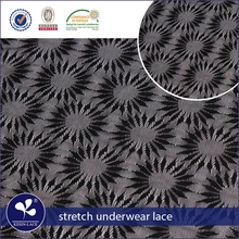 hot sale nylon spandex black sunflower japanese lace for lingerie