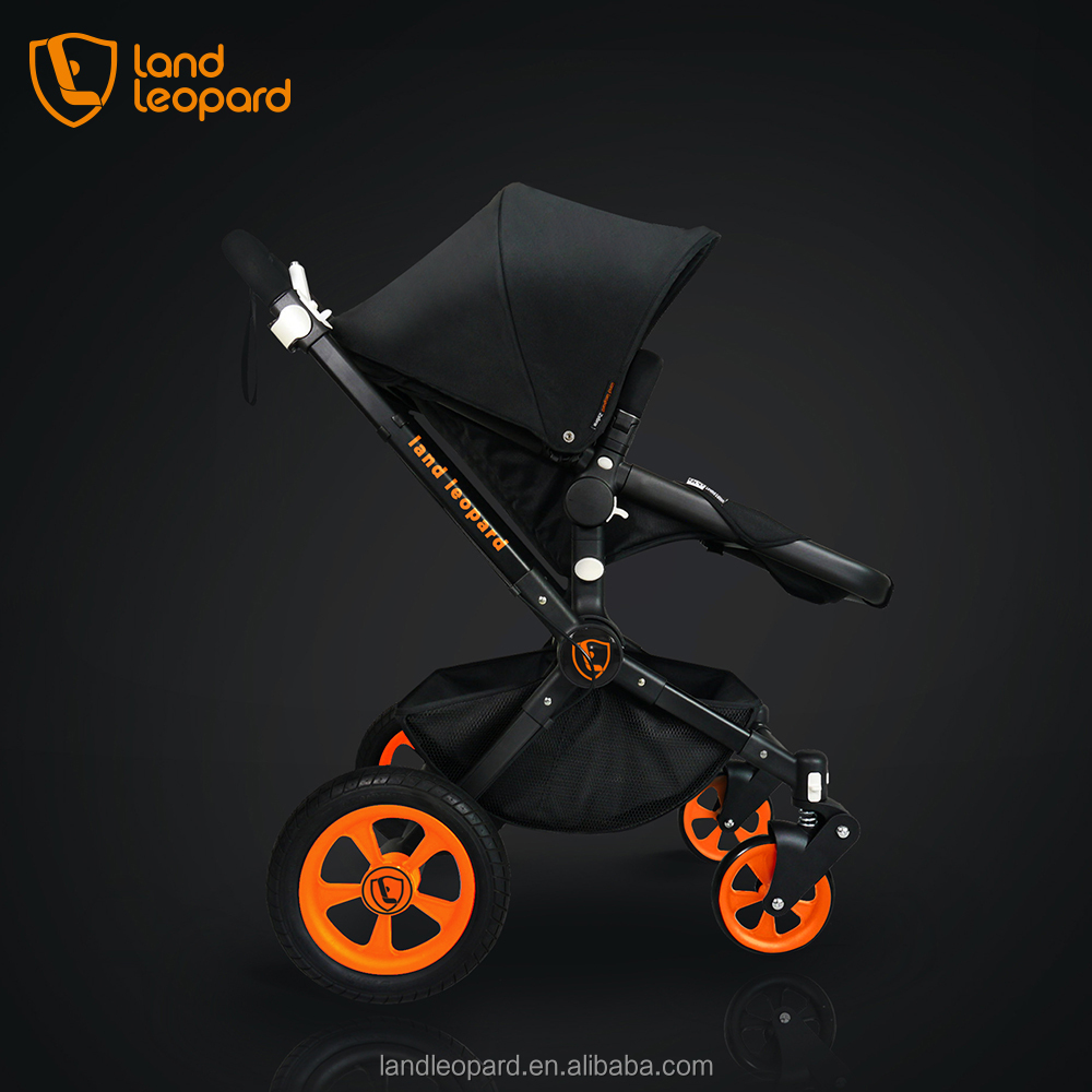 Color black Landleopard baby buggys supplied with five points of ribbon and comfortable sleeping cradle to satisfy baby
