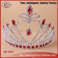 Fashion metal silver rhinestone red crystal heart shape tiara and crown for girls