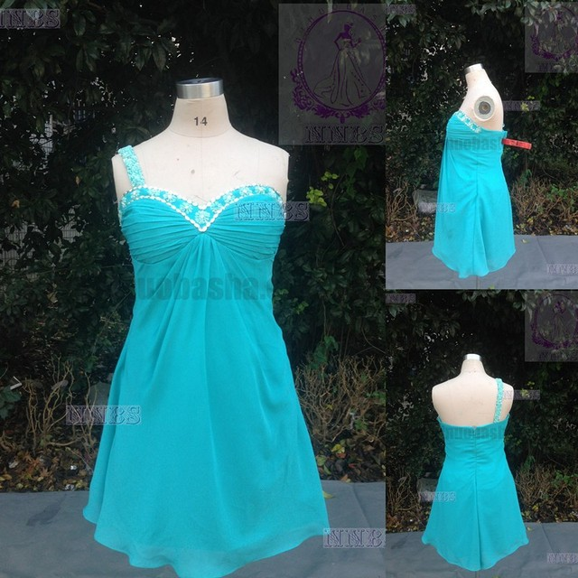 2015 Cheap Aqua Colored Empire Bridesmaid Dress Real Photo Beaded One-Shoulder Strap Ruched Bust Short Chiffon Beach Gown NB1211