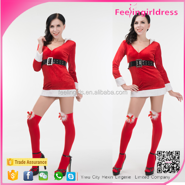 Velvet Mini Dress With Fur Trim And Belt Plus Size Sexy Christmas Costume