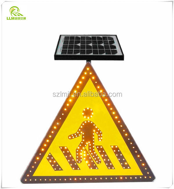 Solar powered radar speed pedestrian crossing LED light traffic sign