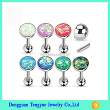 Glitter Dome Steel Barbell Tongue Ring Tragus Piercing14G 5/8""