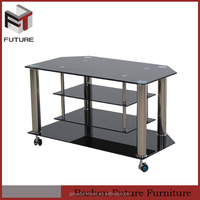 cheap modern metal glass tv table with wheels