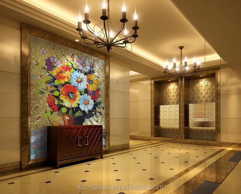 KST Living Room TV Background Wall Hanging Murals Flowers Mosaic Tile Picture Glass