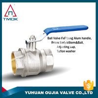 brass ball valve with lock(water meter) check valve with high quality long alum handle with plating three way manual power