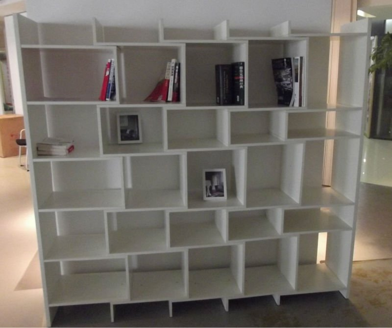 Wooden cube shelf/Modern white bookcase